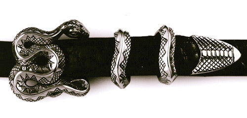 Sterling Coiled Snake 4 pc. Buckle Set