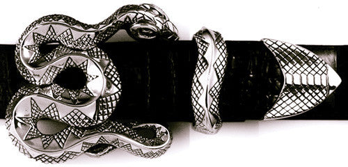 Sterling Coiled Snake 3 Pc. Buckle Set