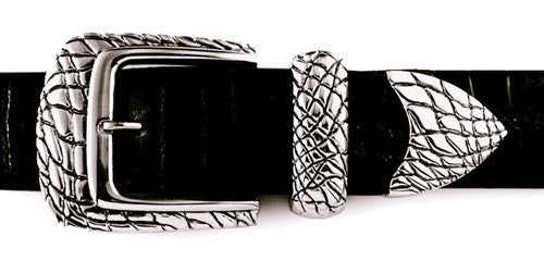 Sterling Alligator Pattern 3 pc. buckle set