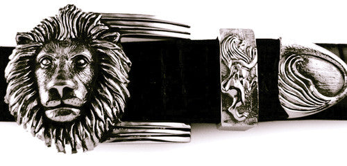 Sterling Lion's Head 3 pc. buckle set