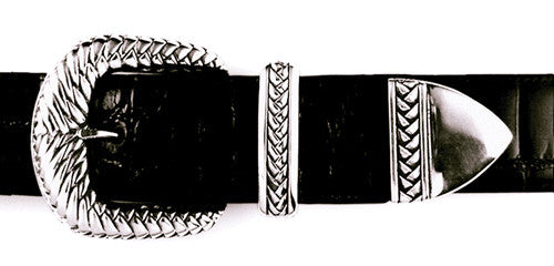 Sterling Braided Motif buckle set