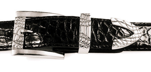 Sterling Alligator Print buckle set