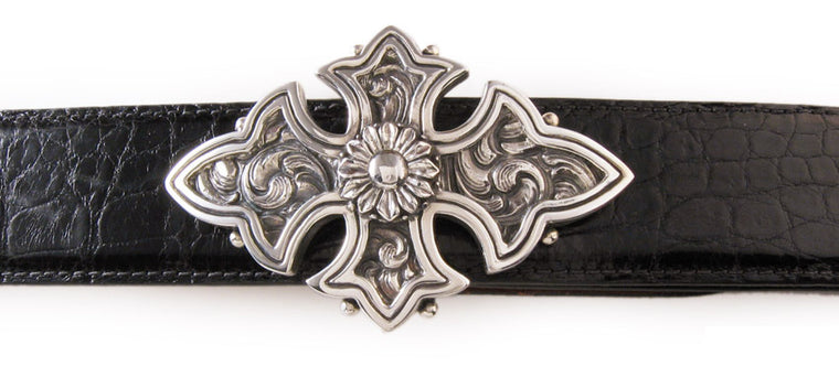 Sterling Carved Cross Buckle