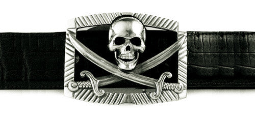 Sterling Pirate Flag buckle