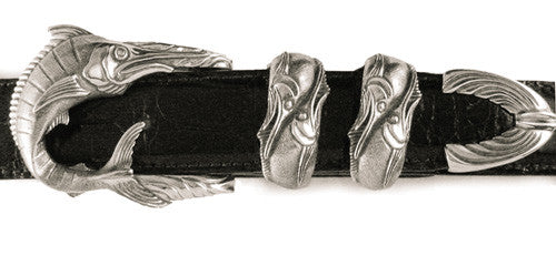 Sterling Fighting Tarpon buckle set