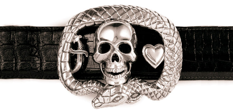 Sterling Skull Heart Dagger Deegan Logo trophy buckle