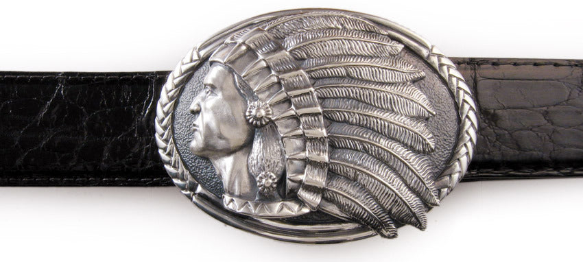 Sterling Indian Oval trophy buckle