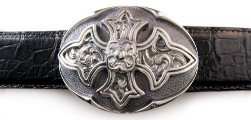 Sterling Carved Cross Oval Trophy Buckle