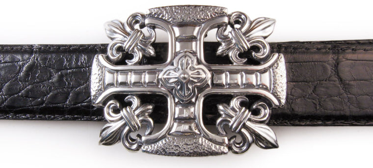 Sterling Fleur di Lis Cross trophy buckle