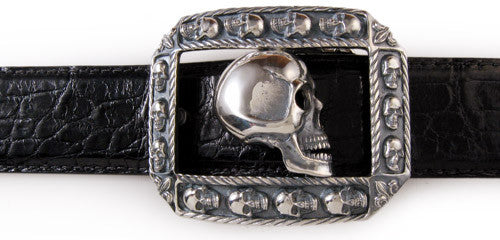 Sterling Side Skull trophy buckle