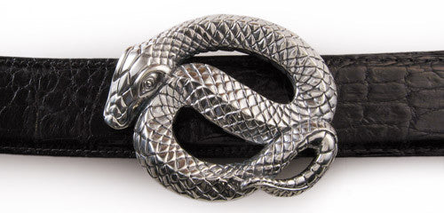 Sterling Coiled Snake Trophy Buckle