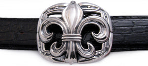 Sterling Large Fleur di Lis trophy buckle