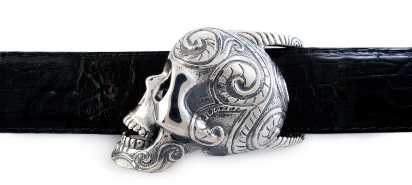 Sterling Sugar Skull Buckle