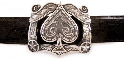 Sterling Ace of Spades trophy buckle