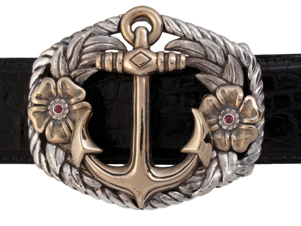 Sterling and Bronze Anchor buckle w/Rubies