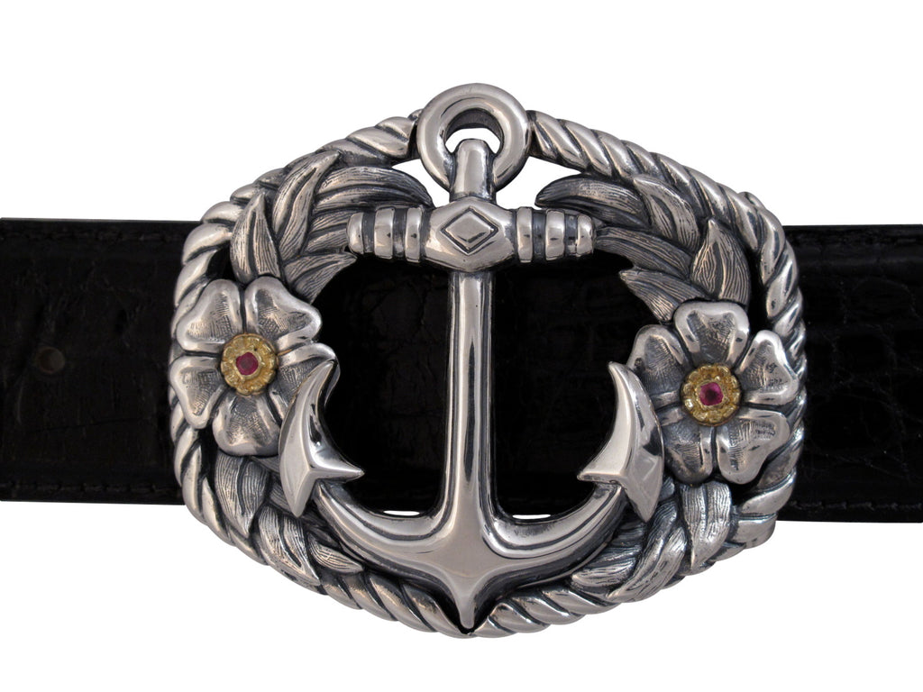 Sterling Anchor trophy buckle with ruby set in 18 kt gold