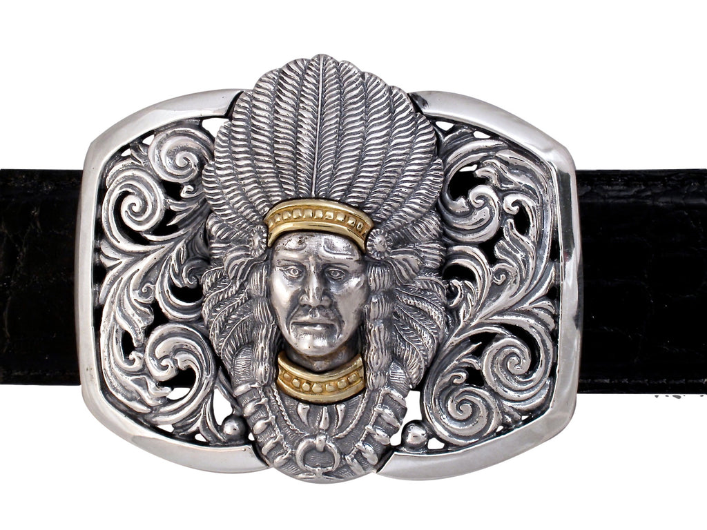 Sterling and 18 kt Gold Indian Chief trophy buckle