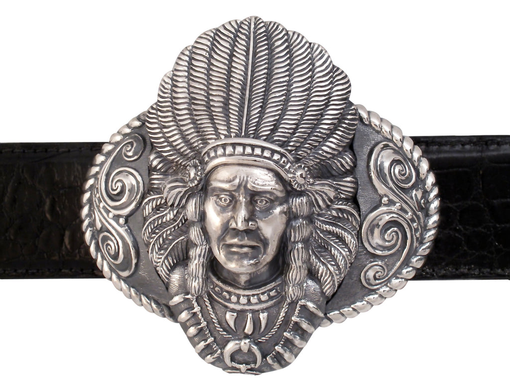 "Sterling Big Chief Indian Buckle for 1.5"" strap."