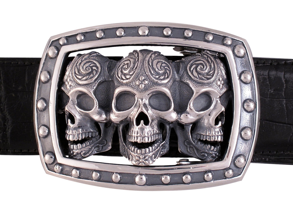 Sterling Triple Sugar Skull Trophy Buckle