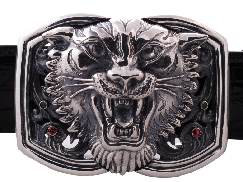Sterling Tiger Trophy Buckle [With Stones]