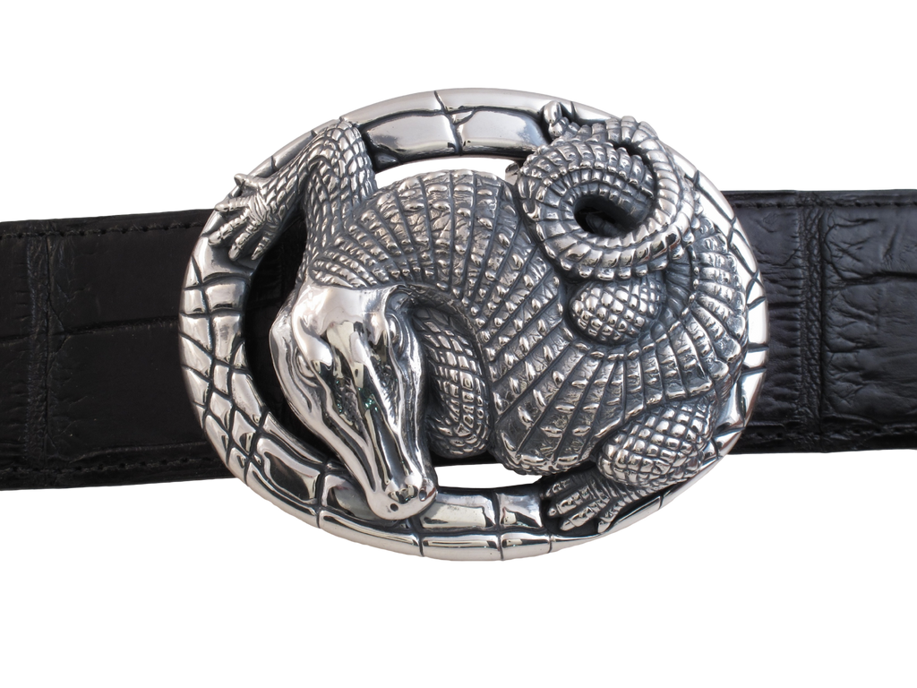 Sterling Alligator Oval trophy buckle
