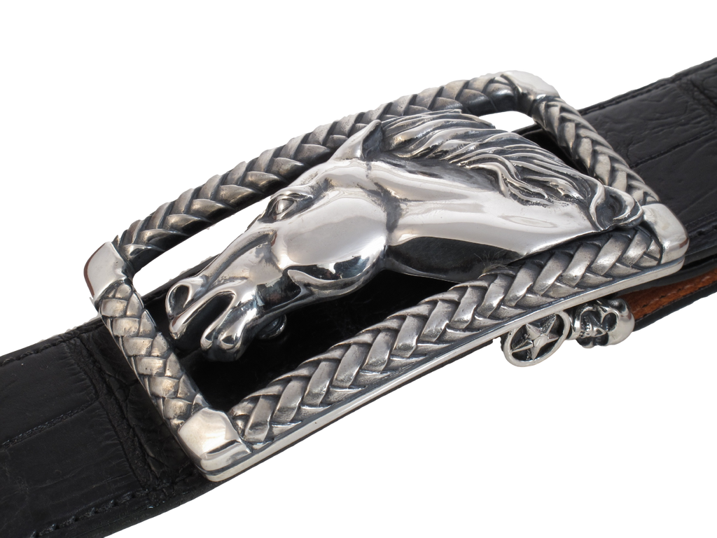 Running Horse in Braided Frame buckle side view