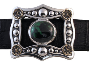 #1360 Sterling, Bronze Trophy Buckle with African Garnet
