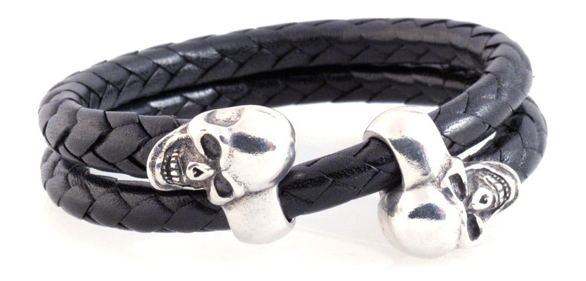 Sterling Double Skull Adjustable Leather Bracelet