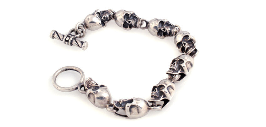 Sterling Linked Skull Bracelet