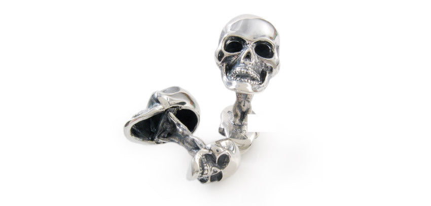 Sterling Double Skull Cufflinks