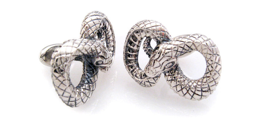 Sterling Figure 8 Snake Cufflinks
