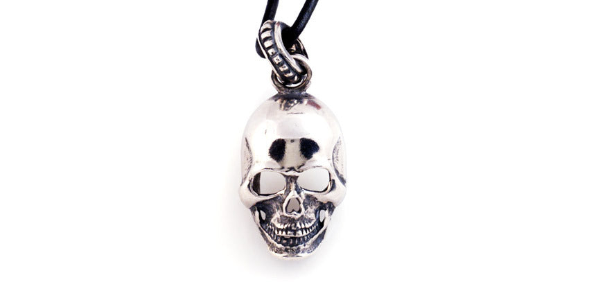 Sterling Large Skull Pendant with Nail