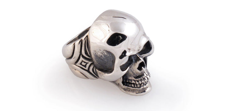 Sterling Skull with Carved Sides Ring