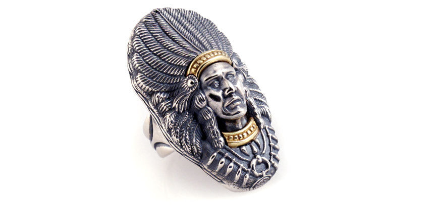 Sterling and 18kt Gold Indian Chief Ring