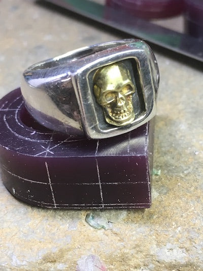 #DR - 16 Small Boxed Skull Ring with 18 kt Gold Skull option.""