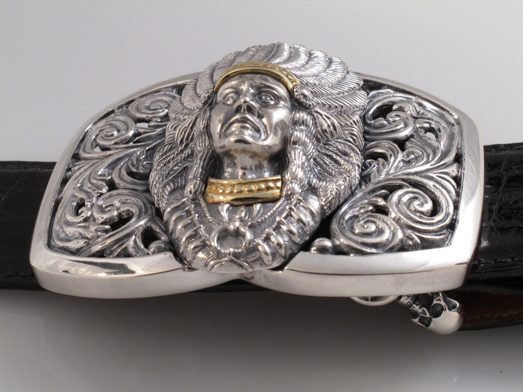 Sterling and 18kt Gold Indian Chief trophy buckle side view