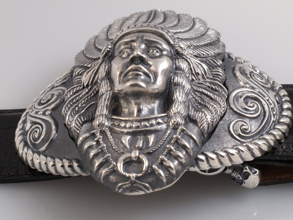 Sterling Big Chief Trophy Buckle side view