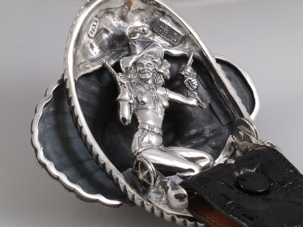 Sterling Big Chief buckle back showing Cowgirl Pin Up