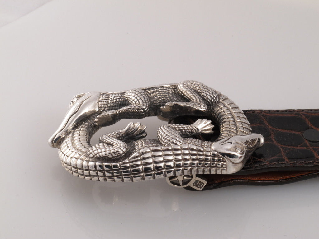 Sterling Double Alligator buckle side view