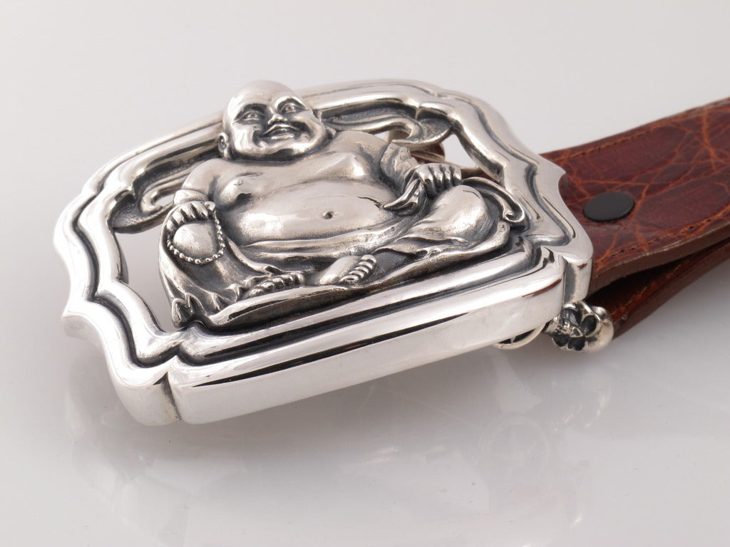 Sterling Buddha trophy buckle side view