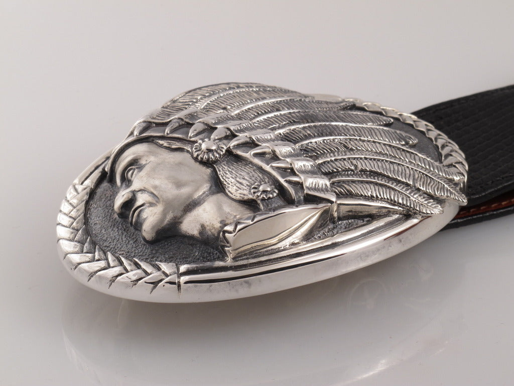 Sterling Indian Oval Trophy Buckle side view