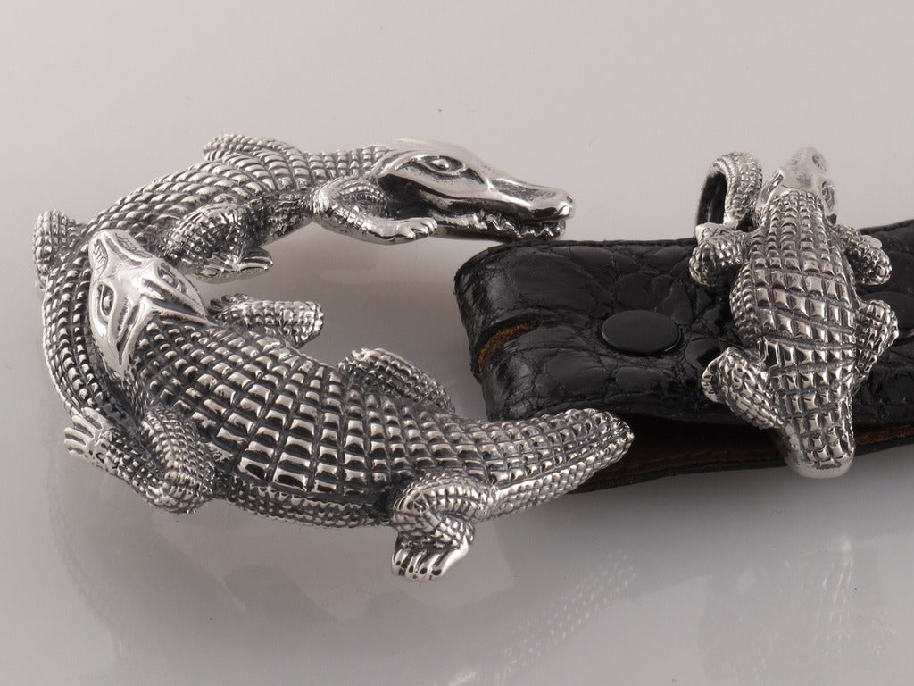 #1196 Double Alligator Buckle Set 1.5""