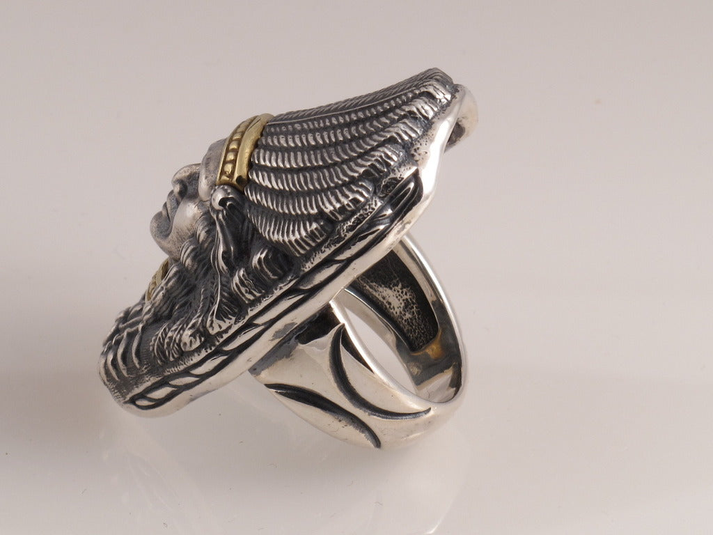 Sterling and 18kt Gold Indian Chief Ring side view