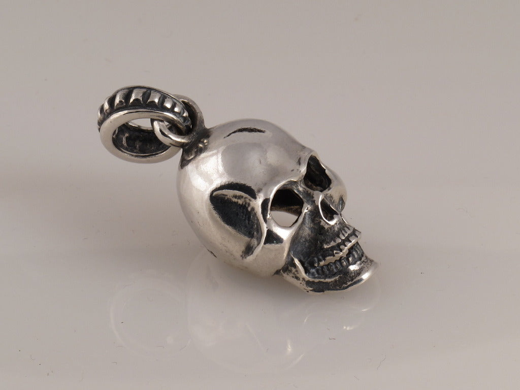 Sterling Large Skull Pendant with Bail side view