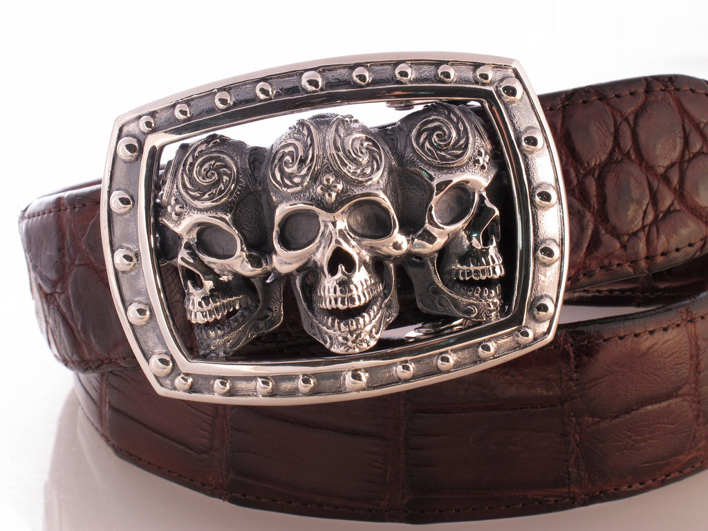 Triple Skull trophy buckle