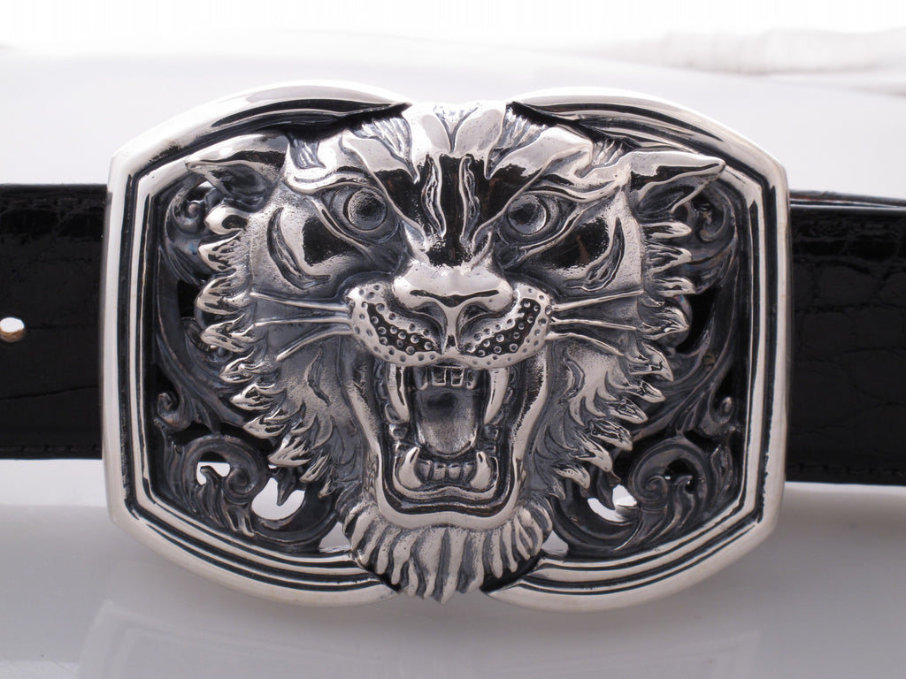 Sterling Tiger Trophy Buckle [no stones]