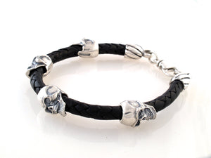 Sterling Skull Bead Bracelet on leather cord