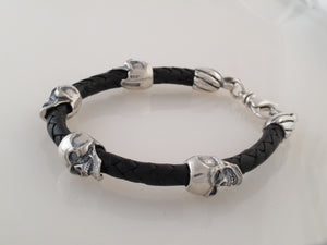 Sterling Skull Bead on leather cord Bracelet
