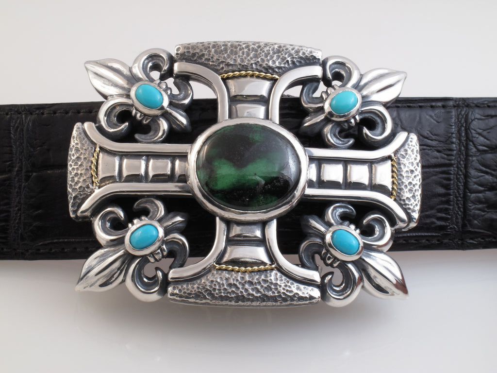 #1228 Gothic cross, Fluer di Lis Sterling Buckle with Stones