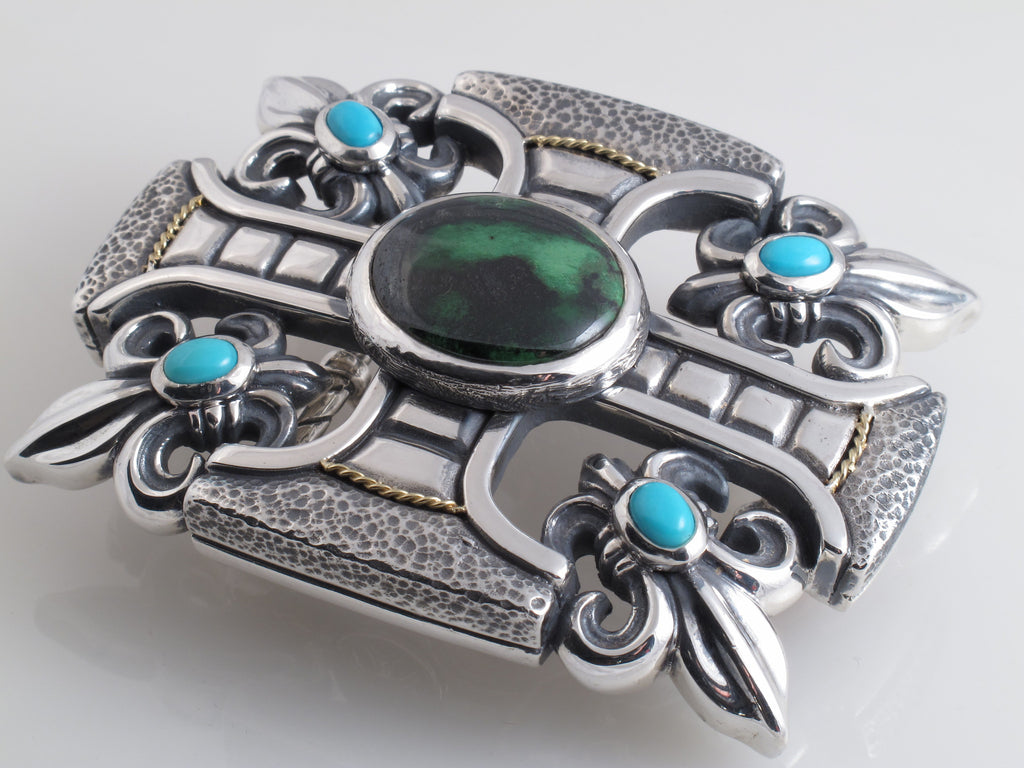 #1228 Custom Sterling Gothic Cross , Fluer di Lis Trophy Buckle with Stones